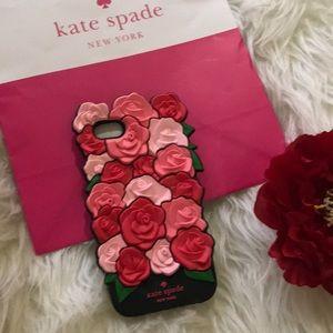 Kate Spade ♠️ iPhone 7 silicone rose case EUC